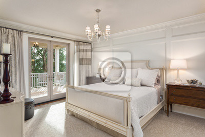 Fototapeta Beautiful master bedroom in new luxury traditional style home