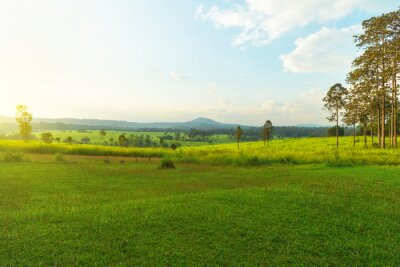 Beautiful meadow and mountains national park, Thailand.