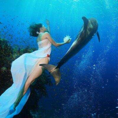 Fototapeta Beautiful mermaid holding seashell swimming in deep blue ocean with wild dolphin near coral reef. Underwater photo.