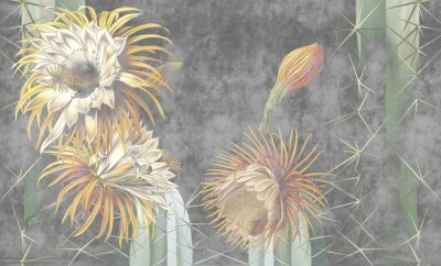 Fototapeta Beautiful painted cactuses on the concrete grey wall. Blooming cactus. Floral background for wallpaper, photo wallpaper, mural, card, postcard, painting. Design in the loft, classic, modern style.