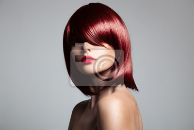 Fototapeta Beautiful red hair model with perfect glossy hair. Close-up port