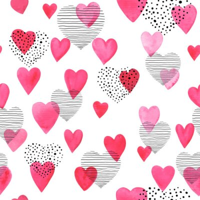 Beautiful Seamless pattern with red watercolor hearts with doodle sketch heart. design for holiday greeting card and invitation of the wedding, Valentine's day and Happy love day