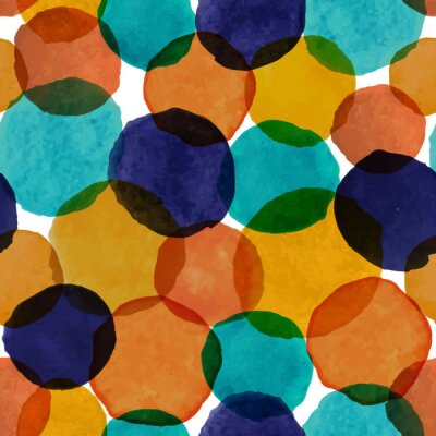 Beautiful seamless pattern with watercolor circles. hand painted brush strokes. Background romantic design for wall decoration, fabric, postcard or brochure cover design