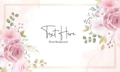 Fototapeta Beautiful soft floral background with dusty pink flowers