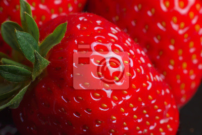Fototapeta Beautiful strawberry closeup. Macro image of fresh strawberries