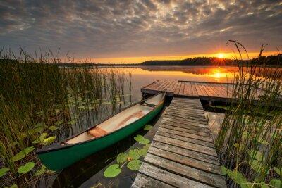Fototapeta Beautiful summer sunrise over lake