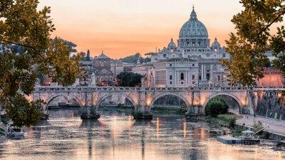 Fototapeta Beautiful sunset on the city of Rome in evening