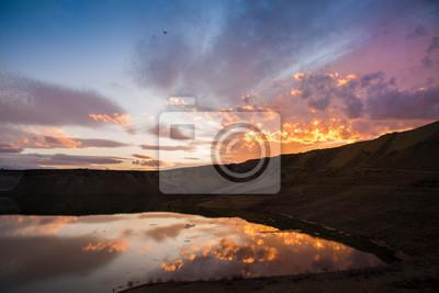 Beautiful sunset sky and lake.