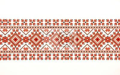 Fototapeta Beautiful traditional Moldavian ornament pattern on a white background