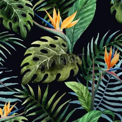Fototapeta Beautiful vector pattern with tropic leafs on black fon