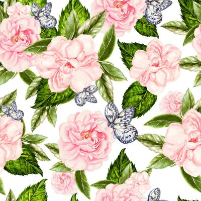 Fototapeta Beautiful watercolor seamless pattern with flowers of rose and peony, butterflies.