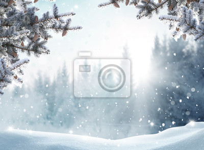 Fototapeta Beautiful winter landscape with snow covered trees.Merry Christmas and happy New Year greeting background with copy-space.