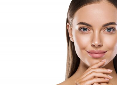 Fototapeta Beautiful woman face with beauty skin cute smile cosmetic concept clean skin natural make up