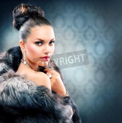 Fototapeta Beautiful Woman in Luxury Fur Coat