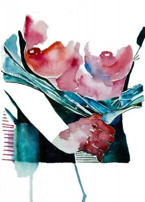 Fototapeta Beautiful woman undressing hand drawn watercolor illustration