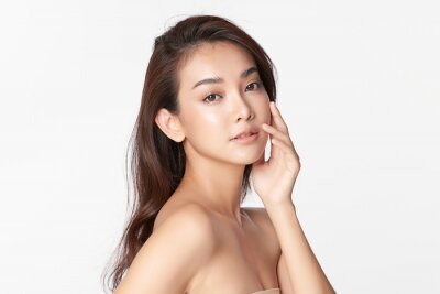 Fototapeta Beautiful young asian woman with clean fresh skin on white background, Face care, Facial treatment, Cosmetology, beauty and spa, Asian women portrait