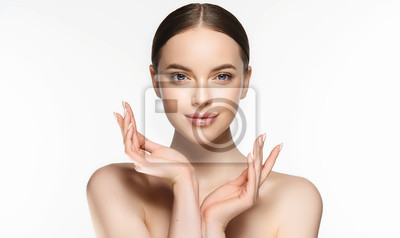 Fototapeta Beautiful Young Woman with Clean Fresh Skin . Facial  treatment   . Cosmetology , beauty  and spa . Nice and attractive girl with a pleasant smile.
