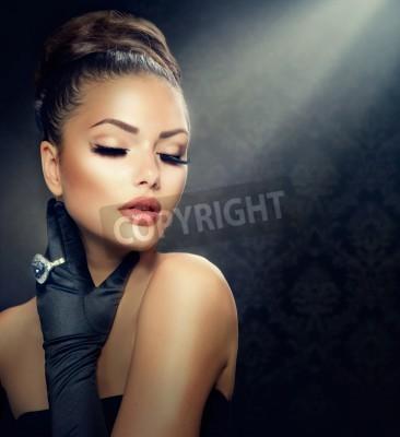Fototapeta Beauty Fashion Girl Portrait  Vintage Style Girl Wearing Gloves