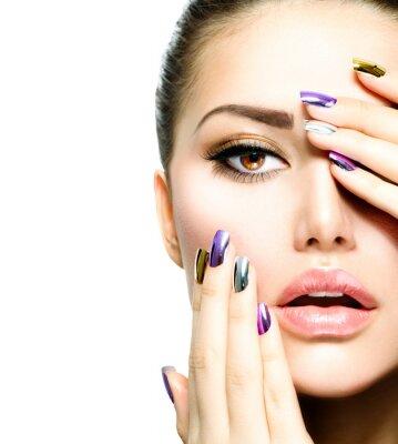 Fototapeta Beauty Fashion. Manicure, make-up. Nail Art