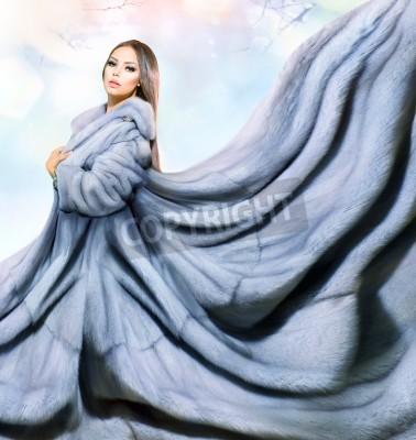 Fototapeta Beauty Fashion Model Girl in Blue Mink Fur Coat