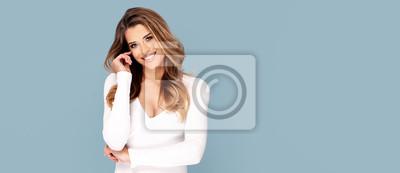Fototapeta Beauty photo of happy smiling woman.