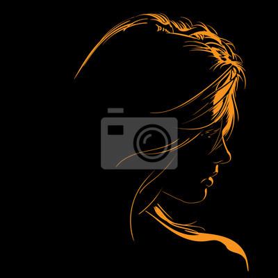Fototapeta Beauty Woman Face silhouette in contrast backlight. Illustration.