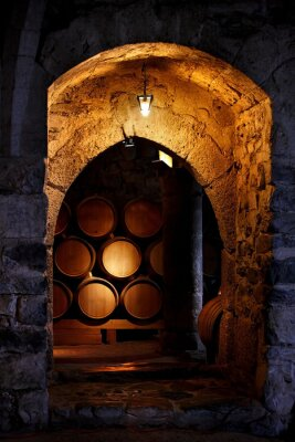 Fototapeta Beczka wina w winerry.