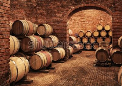 Fototapeta Beczki z winem w winnych sklepieniach w porządku