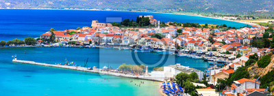 Fototapeta Best of Greece - scenic Samos island. Beautiful Pythagorion town, view of marine and beach