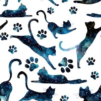 Fototapeta Bez szwu deseń Akwarela Starry Sky i koty