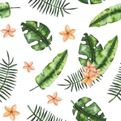 Fototapeta Bez szwu deseń Akwarele Zielonych Liści i Plumeria
