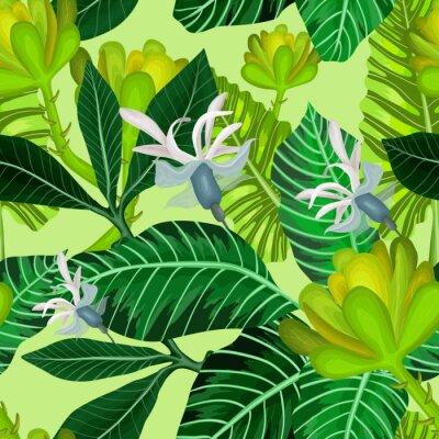 Fototapeta Bez szwu deseń tropikalnych drzew i kwiatów