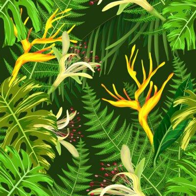 Fototapeta Bez szwu deseń tropikalnych kwiatów hawajskich