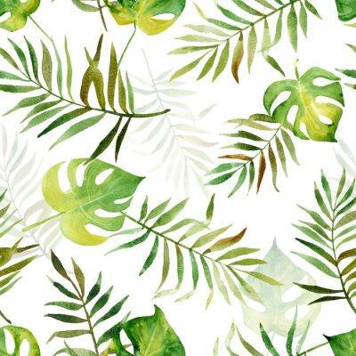 Fototapeta Bez szwu deseń z akwarela tropikalnych liści.