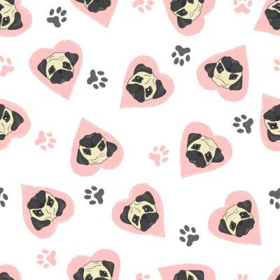 Fototapeta Bez szwu deseń z cute kubki i różowe serca. Wektor tła z psami.