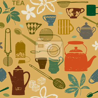 Bez szwu deseń z porysowanych herbaty symboli związanych