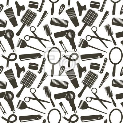 Bez szwu deseń z symboli związanych fryzjerskich