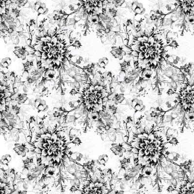 Fototapeta Bez szwu desenie z pięknych kwiatów, Akwarele ilustracji