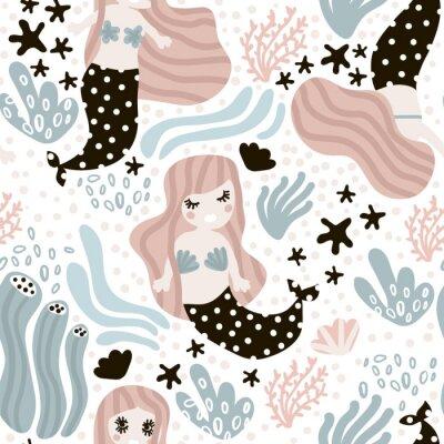 Fototapeta Bez szwu dziecinny wzór ze słodkimi mermaid, wodorosty, rozgwiazdy. Undersea vector trendy texture.Perfect do tkanin, tekstyliów, owijania
