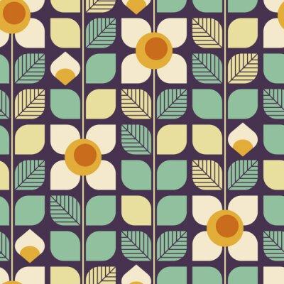 Fototapeta bez szwu geometryczny wzór retro z liści i kwiatów