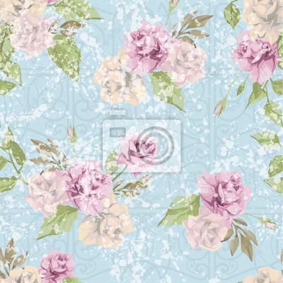 Bez szwu kwiatowy wzór w pastelowych różowych róż z ornamentem.