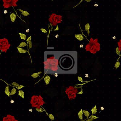 Bez szwu kwiatowy wzór z czerwonych róż na czarnym tle.