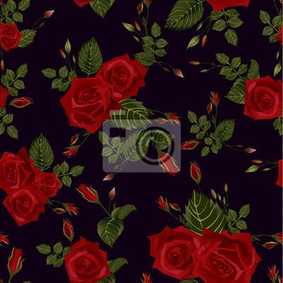 Fototapeta Bez szwu kwiatowy wzór z czerwonych róż na czarnym tle.