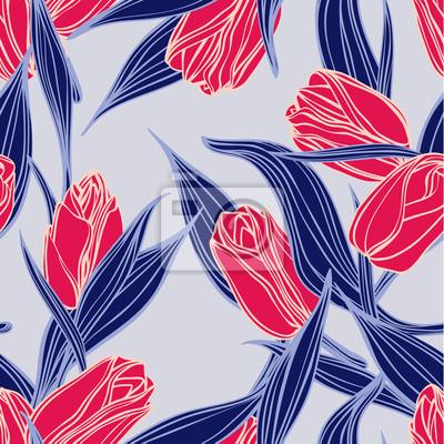 Bez szwu kwiatowy wzór z czerwonych tulipanów