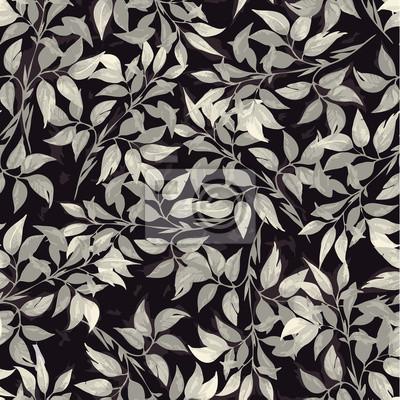 Fototapeta Bez szwu kwiatowy wzór z liści ficus szare