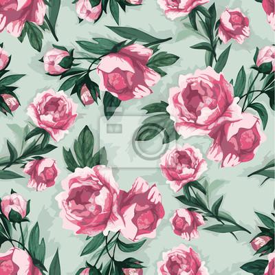 Fototapeta Bez szwu kwiatowy wzór z róż różowy, akwarela.