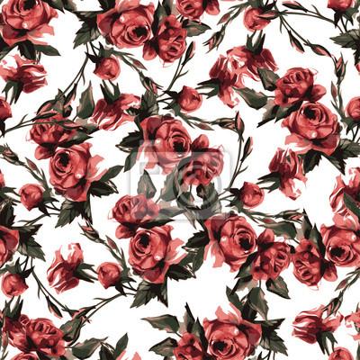 Fototapeta Bez szwu kwiatowy wzór z różowych róż