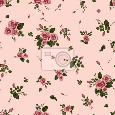 Bez szwu kwiatowy wzór z różowych róż. Ilustracji wektorowych.