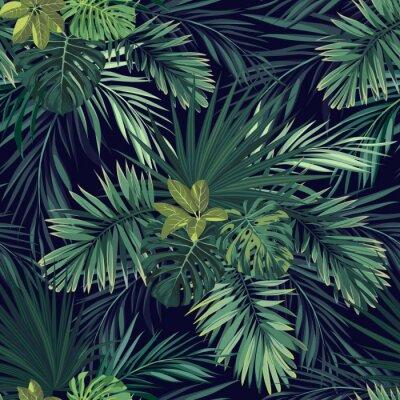 Fototapeta Bez szwu ręcznie rysowane botaniczne egzotyczny wzór wektor z zielonych liści palmowych na ciemnym tle.