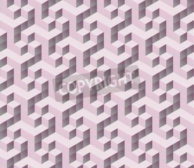 Fototapeta bez szwu różowy 3d izometryczny modułu bez szwu. Streszczenie cyfrowych kolorowe tło geometrycznych.